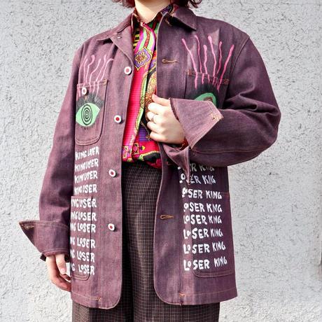手描き ワインレッド デニムジャケット KING LOSER DJ02