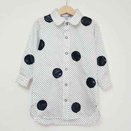 ドットロングシャツ(こども)WHITE(ドット柄)
