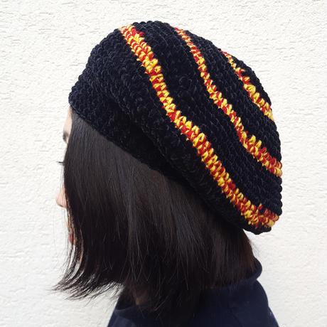 切り替えベレー帽(おとな)BLACK