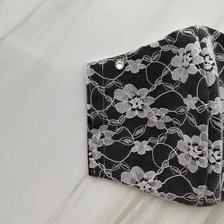 【受注販売❤︎ストーン付】 handmade black lace mask