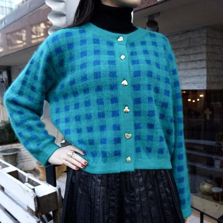 vintage checked  knit cardigan