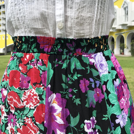 vintage flower design long skirt