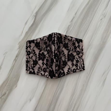【シルクサテンストーン無】handmade blacklace mask