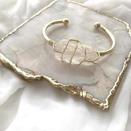 Stone bracelet(gold×crystal)