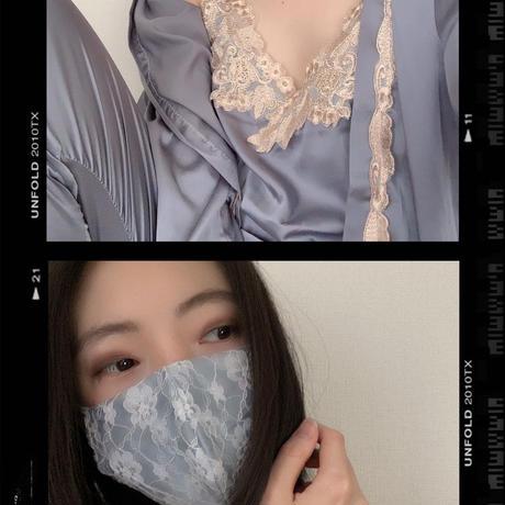 【受注販売❤︎シルクサテンストーン付】handmade whitelace mask