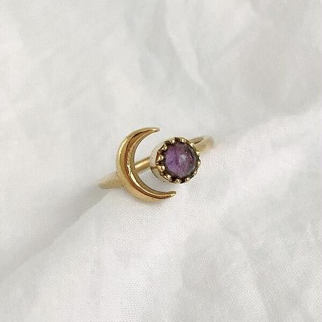 Crescent Moon natural stone ring