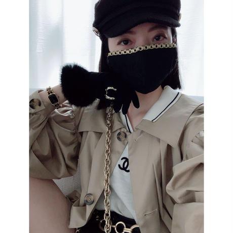 【受注販売❤︎チェーン風デザイン付】 handmade black lace mask