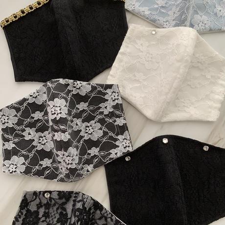 【受注販売❤︎ストーン3つ付】 handmade black lace mask
