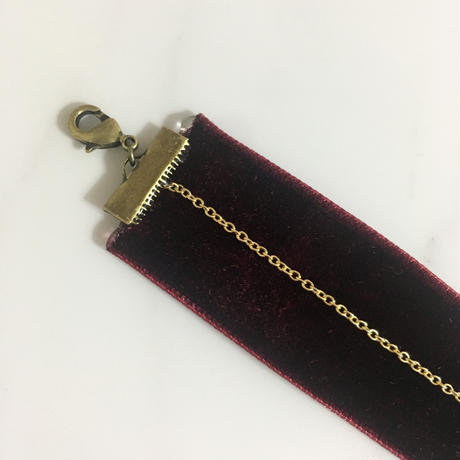 handmade MOSCHINO gold button velour remake choker
