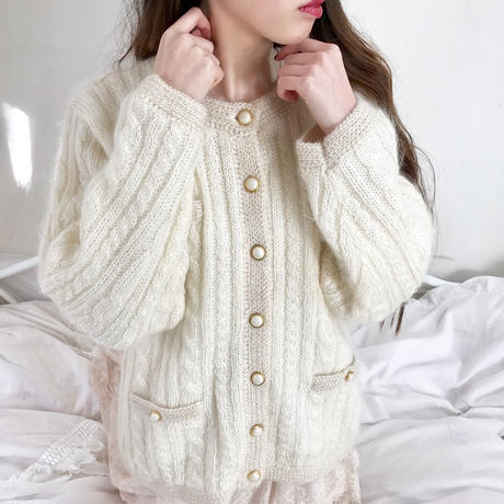 vintage pearl button cable knit cardigan