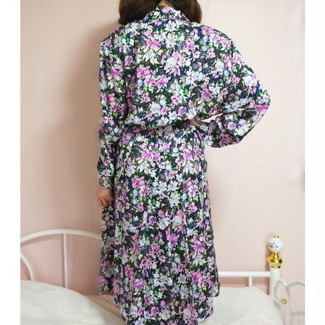 vintage flower long  one-piece