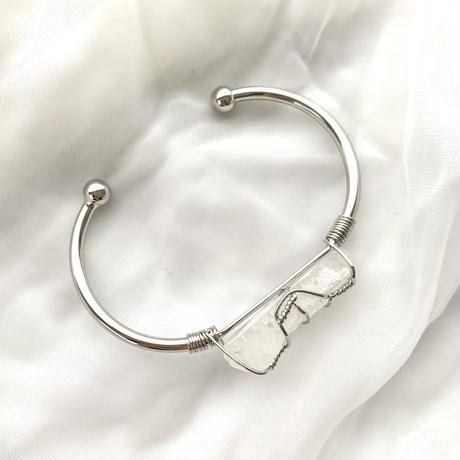 Natural stone  bracelet(silver×crystal)