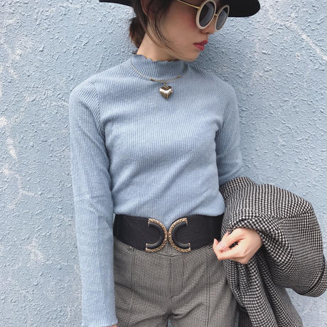select corduroy ice blue highneck tops