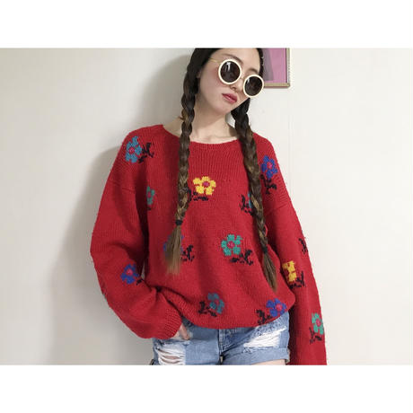 vintage flower pattern knit