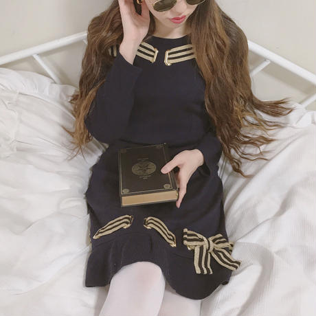 vintage line ribbon knit one-piece