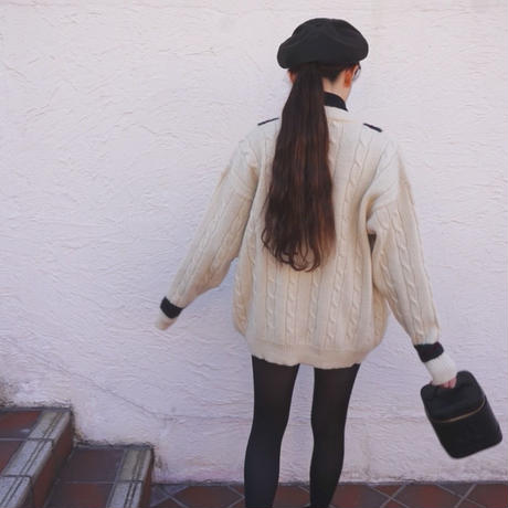 vintage line cable knit cardigan