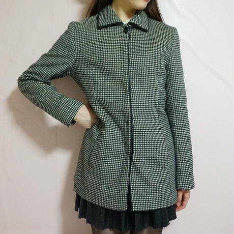 vintage checked pattern jacket