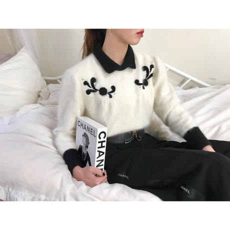 vintage bicolor design mohair knit