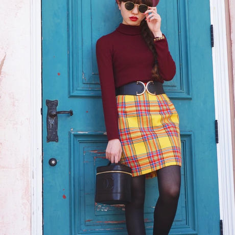 vintage checked tight skirt