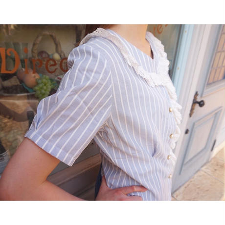 vintage stripe pearl button blouse