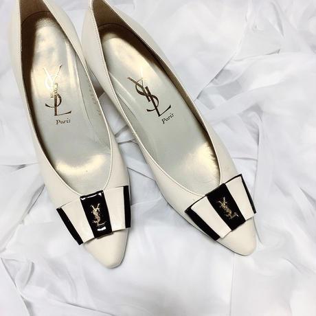 vintage YSL logo bycolor ribbon shoes