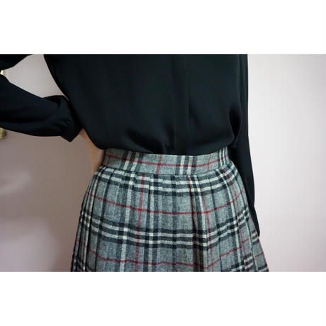 vintage checked pleats skirt