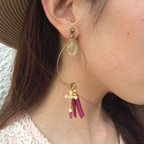 handmade christ charm drop fringe earrings