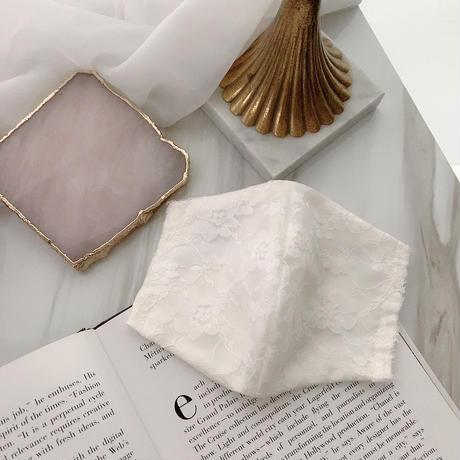 【受注販売❤︎シルクサテンストーン無】handmade whlte  lace mask