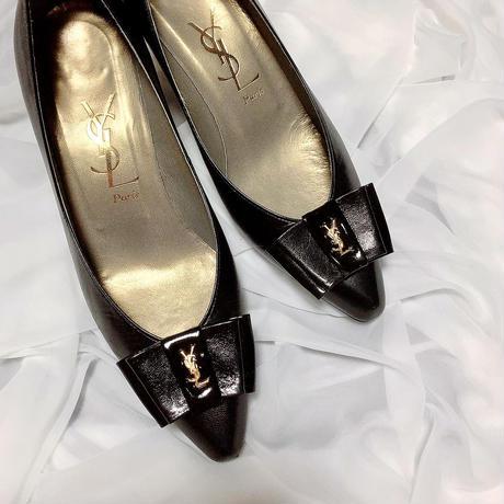 vintage YSL logo ribbon shoes