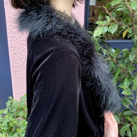vintage velour short fur jacket