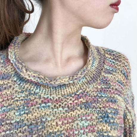 vintage mix color high neck knit