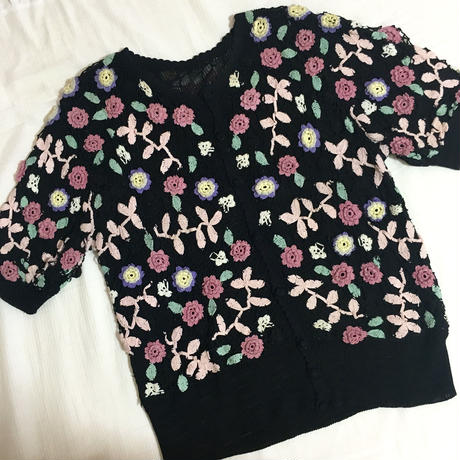 vintage pastel  flower knit tops