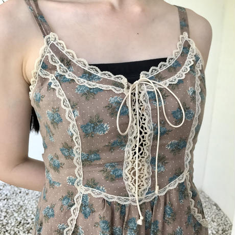 vintage lace up flower one-piece