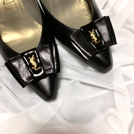vintage YSL logo ribbon shoes