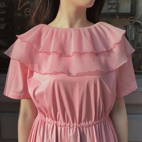 1960's vintage 2way frill long dress