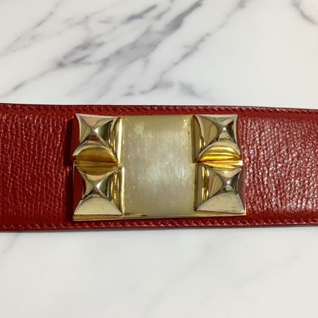 vintage HERMES collier chien belt red