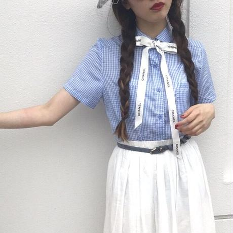 vintage  gingham checked blouse