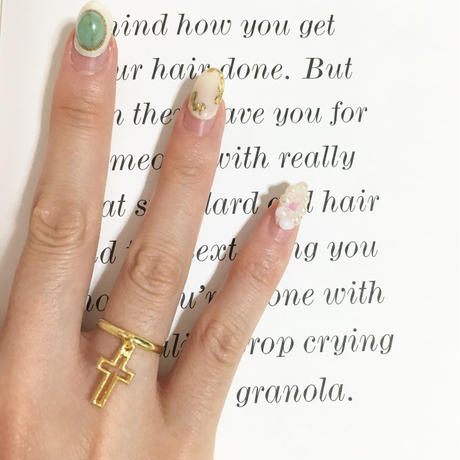 handmade cross charm ring