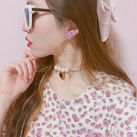 Re item♡handmade CHANEL pink button 2way foop earrings