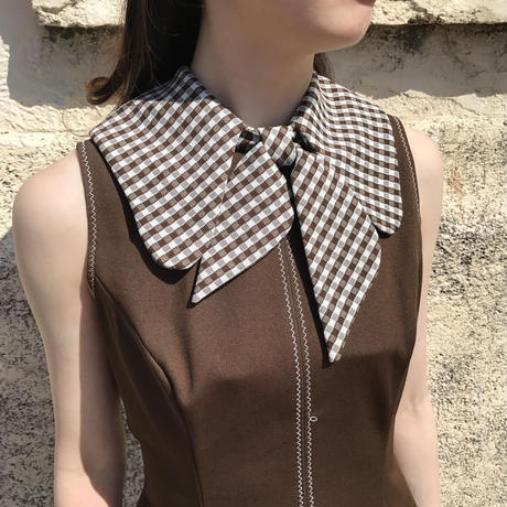 vintage neck gingham checked ribon one-piece