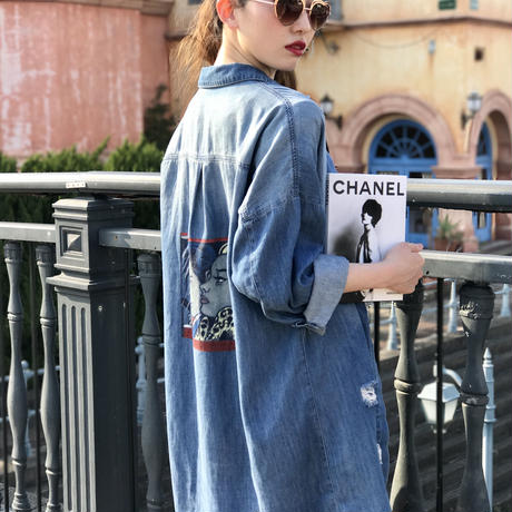 vintage an illustration denim shirt