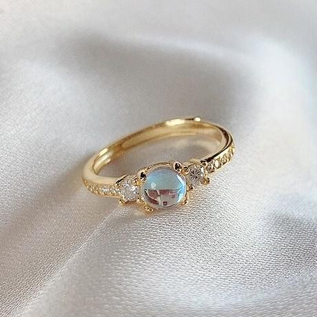 Natural moon stone × rhinestone ring