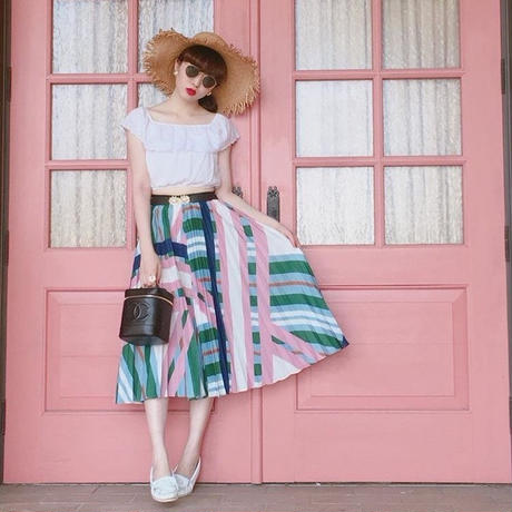 select 2way pleats skirt(pink)