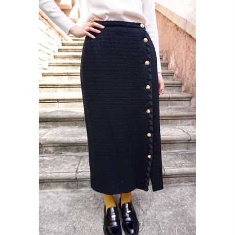 vintage pearl button long skirt