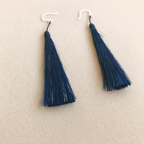 青苧のピアス  線  /  藍