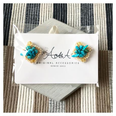 square turquoise pierce