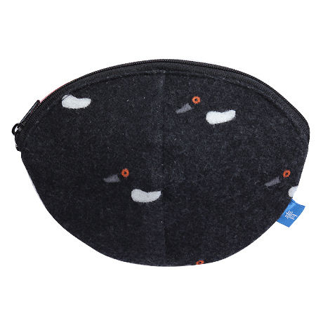 寝待月ポーチ[ウール] 冬鴨(黒)