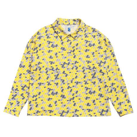 衿付き長袖ブラウス 瓦(黄)
