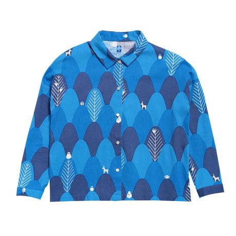 衿付き長袖ブラウス 山々(青)