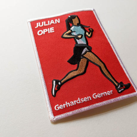 SOLDIER, EMBROIDERED INVITE CARD / Julian Opie